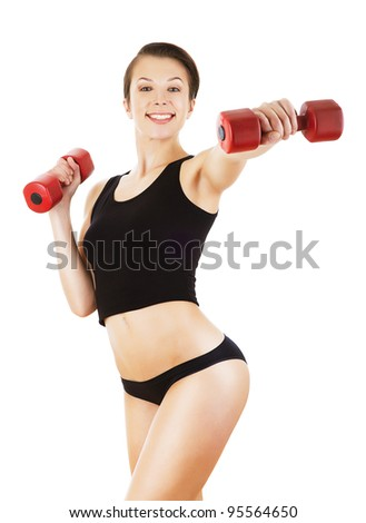 sporty woman is exercising with dumbbells on white background #95564650