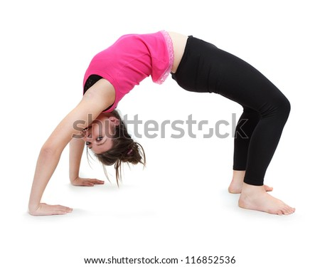 Sporty young woman exercising on a white background.