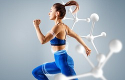 Sporty young woman runing and jumping near molecules. Metabolism concept.