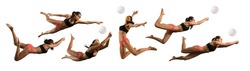 Sporty young woman volleyball beach player in action on white background