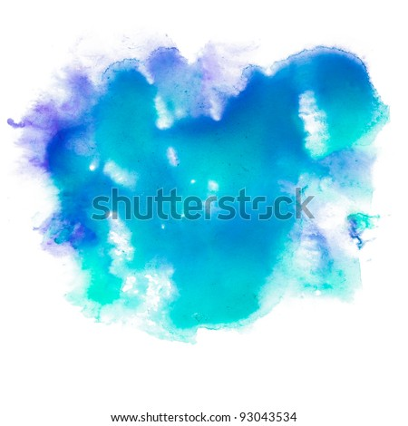 spot blue watercolor blotch texture isolated on a white background