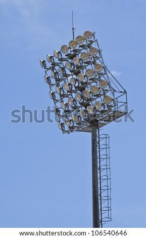 Spot-light tower at chonburi stadium in thailand