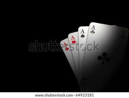Spot on four aces with black background - rendering