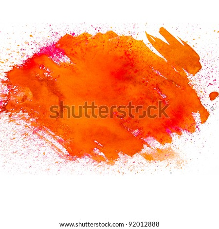 spot orange blotch watercolors isolated on white background