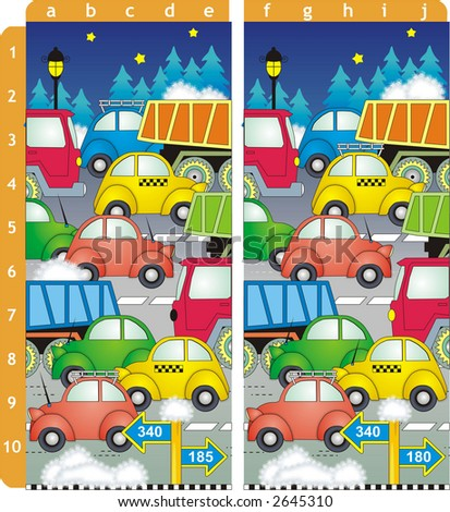 Spot ten differences picture puzzle. Answer: b1, c2, e2, c3, a5, a6, d7, c8, a9, e10 ( for vector EPS see image 7323088 )  #2645310