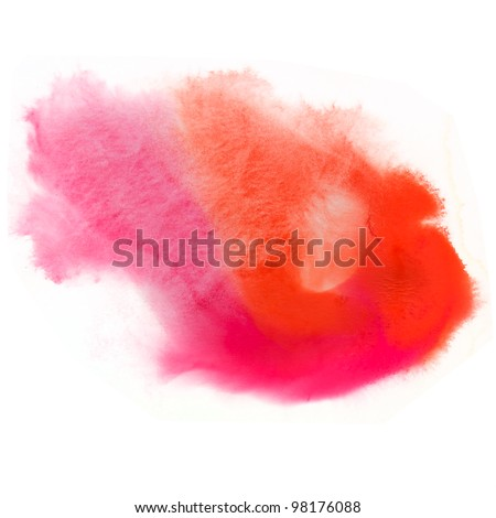 spot texture watercolor orange splash ink red pink watercolour macro blotch texture isolated white background