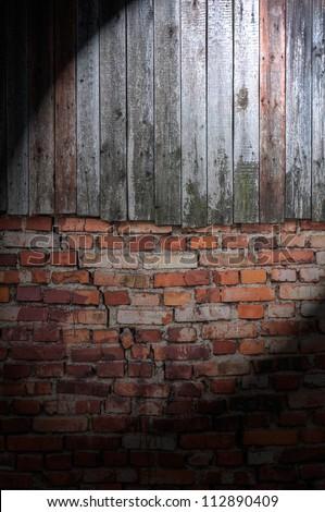 Spotlight on Dark Grungy Wall