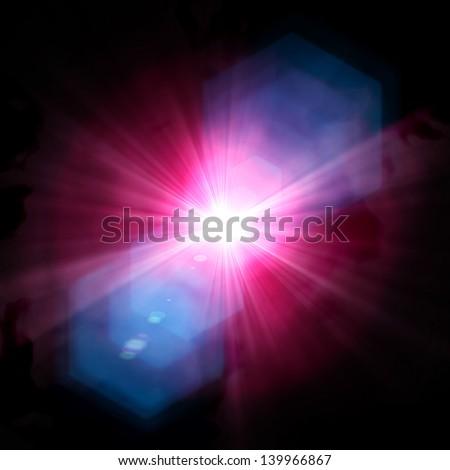 Spotlight single beam on smog background