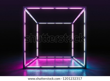 Spotlight stage. Neon background futuristic concept #1201232317