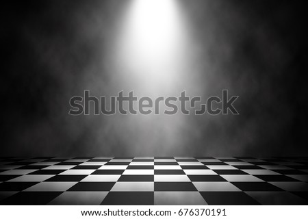 Spotlight white stage on the racing floor background.