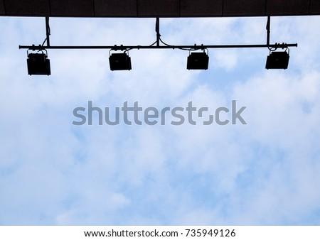 Spotlight with clear sky #735949126