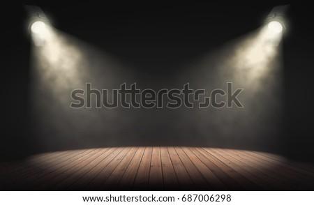 spotlights illuminate empty...