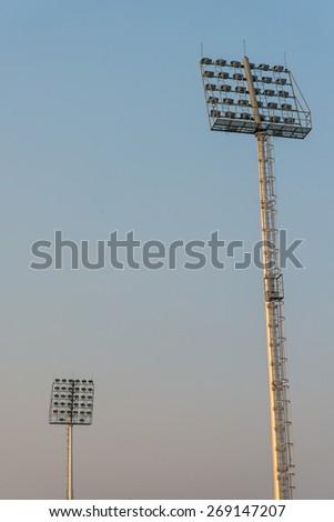 Spotlights of a soccer field. football field. arena. stadium.