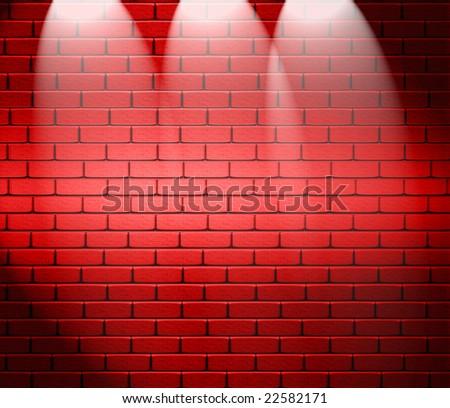 Spotlights On Brick Wall