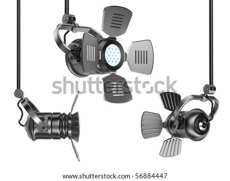 Spotlights set isolated on white. 3D render. - stock photo