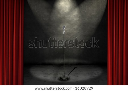 Spotlights shining on a stage with microphone, framed with red curtains #16028929