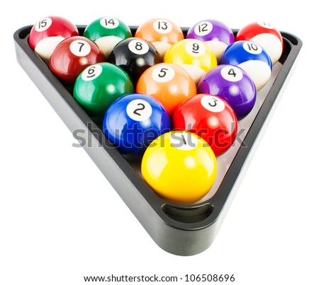 Spots and stripes pool balls triangle blac isolated on white  background.
