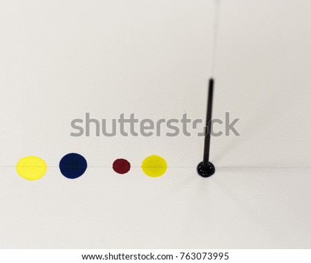 Spotting colored solutions an a thin layer chromatography plate