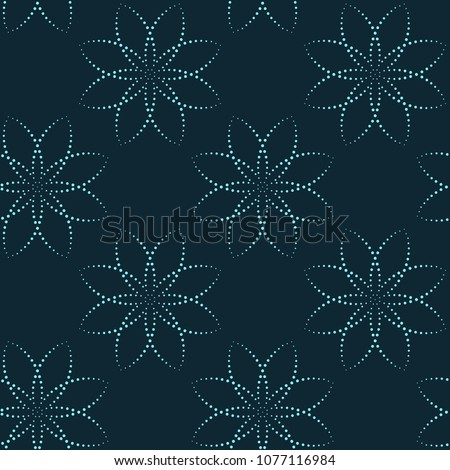 Spotty floral motif boho seamless pattern. Arrangement of dot line flowers. Simple geometric lace all over print block. Vintage design for interior textile, dress fabric, garment, phone case.