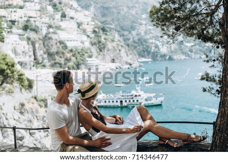 Spouses are resting on the sea in Italy, Positano. Honeymoon. Love story
