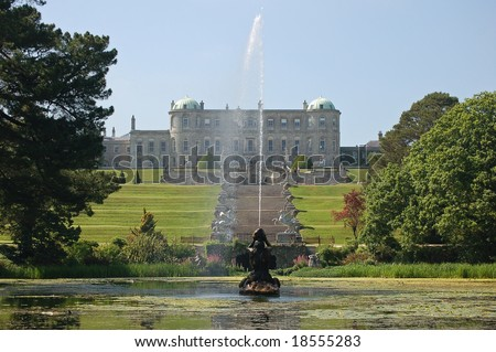 Spouting fountain in an Irish garden - stock photo