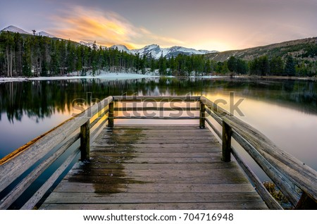 Sprague Lake in Rocky Mountain National Park, CO at sunset. Stock photo ©