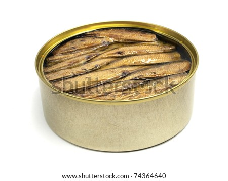 Sprat fish canned on a white background - stock photo