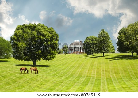 Sprawling acres of green grass pastures surround a horse farm ranch in Kentucky, USA. - stock photo