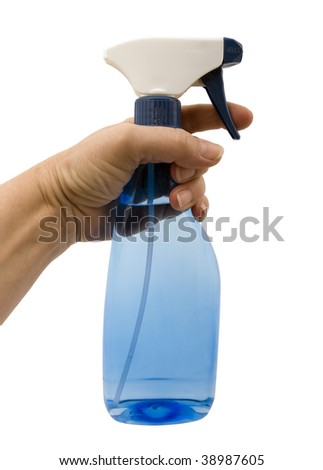 Spray Bottle and hand isolated on a white background