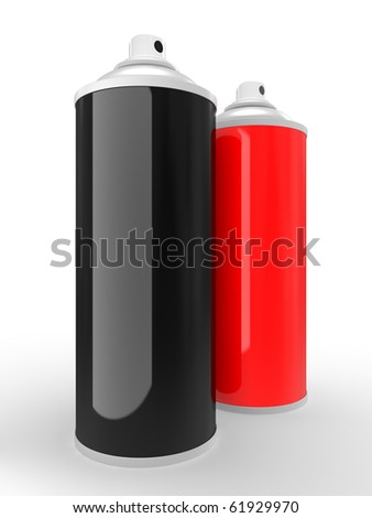 spray cans with differently colored paint