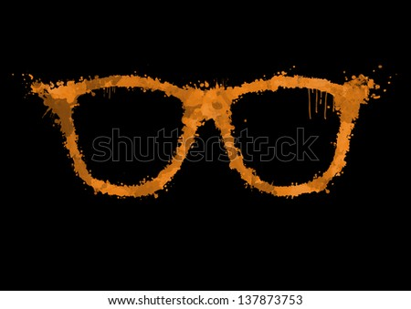 Spray orange paint in the form of sunglasses