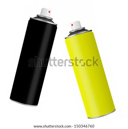 Spray paint cans black and yellow isolated