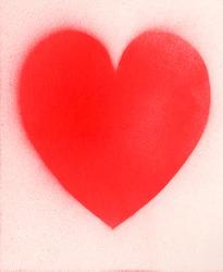 Spray paint heart sign, shape heart graffiti on white paper background