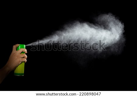 Spray, Pulverized fluid getting out from a container withstood by a human hand