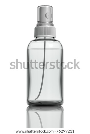 Sprayer medicine bottle of clear glass isolated on white background with liquid and cap of transparent plastic. Frontal view, blank for label. 3d.