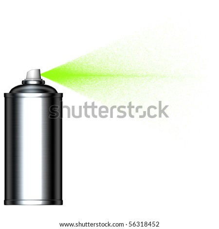 spraying green mist spray can seen from the side