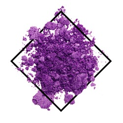 Spread crush purple powder or shattered eyeshadow make up broken over lay square black line frame concept for beauty cosmetic empty space for text