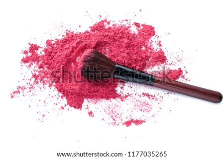 Stock Photo Spread intense pink pigment powder on white background with natural horse hair brush for make up of woman on her healthy cheek or blush on