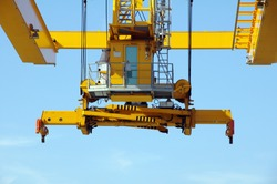 Spreader of a industrial crane closeup