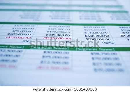 Spreadsheet table paper, Finance development, Banking Account, Statistics Investment Analytic research data economy, trading, Mobile office reporting Business company meeting concept.  Stock photo ©
