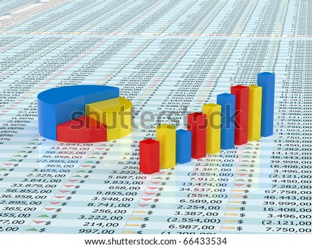 Spreadsheet with blue,yellow  and red graph bars with numbers in background