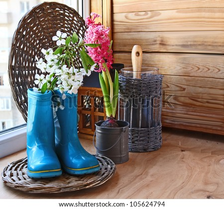 Sprig of flowering cherry in a dark blue rubber knee-boot and pink hyacinth on the window of balcony. Infatuation for gardening on a balcony