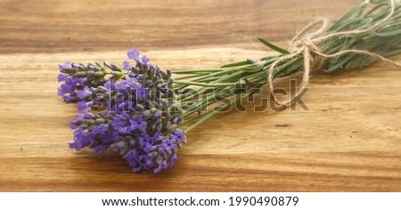 sprig of lavender, lavender, lavender or lavender on a wooden background (lavandula) Stock photo ©