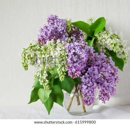 Sprig Of Lilac In A Vase On The Table Ez Canvas