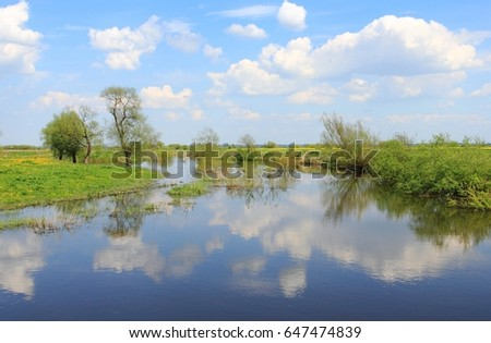 Stock Photo Sprin flood on river. Flooded meadows at Wierzyca River near Gniew, Poland