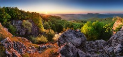 Sprinf forest moutain landscape panorama at sunrise, Slovakia