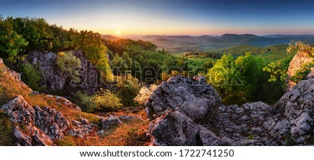Photo of  Sprinf forest moutain landscape panorama at sunrise, Slovakia