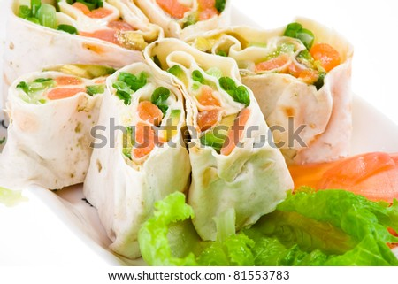 spring appetizer with salmon in pita bread
