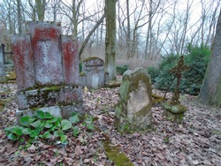 Spring atmosphere on the old abandoned and ransacked Jewish Cemetery