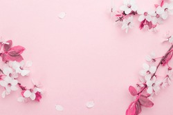 Spring background table. May flowers and April floral nature on pink. For banner, branches of blossoming cherry against background. Dreamy romantic image, landscape panorama, copy space.